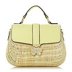Dune - Yellow 'Daker' butterfly detail straw bag
