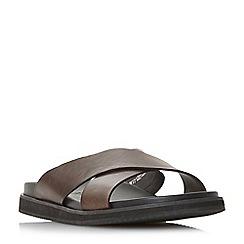 Bertie - Brown 'Idiom' cross strap slip-on sandals