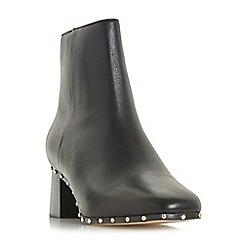 Dune Black - Black leather 'Osca' mid block heel ankle boots