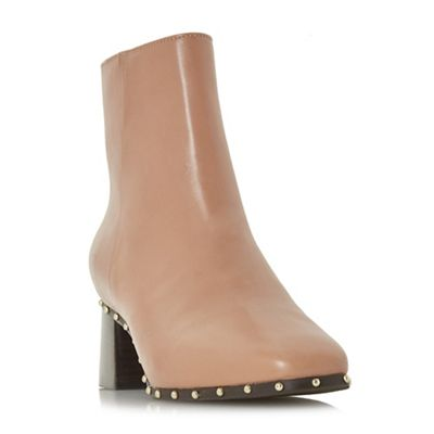 Dune Black   Camel Leather 'osca' Mid Block Heel Ankle Boots by Dune Black
