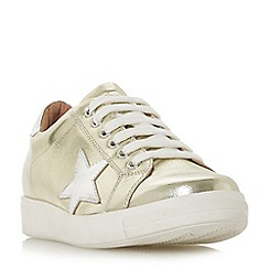 Dune - Gold leather 'Edris' lace up trainers