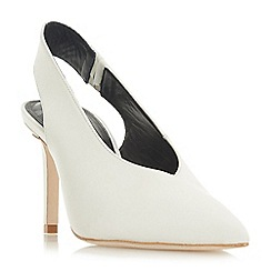 Dune Black - White leather 'Caia' mid stiletto heel court shoes