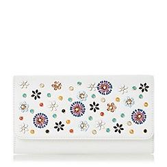 Dune - White 'Betula' enamel flower embroidered clutch bag