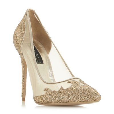 Dune - Gold 'Brigettee' high stiletto heel court shoes