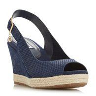 274f88234415 Dune - Navy suede  Klicks  high wedge heel ankle strap sandals