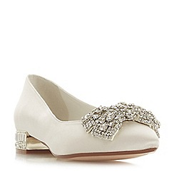 Dune - Ivory satin 'Bow-tie' block heel pumps