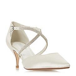 Dune - Ivory satin 'Confettie' stiletto heel court shoes