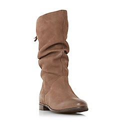 Dune - Taupe leather 'Rosalindd' block heel calf boots
