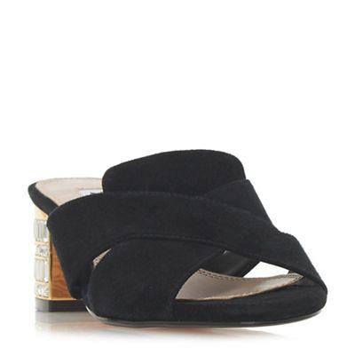 Dune - Black suede 'Matotte' mid block heel mules