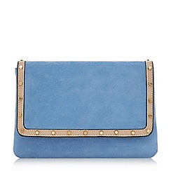 Dune - Blue 'Borriss' studded clutch bag
