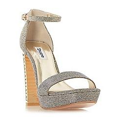 e24ff3853cb Dune - Bronze leather  Medusa  high block heel ankle strap sandals