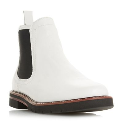 Dune - White leather 'Quart' ankle boots