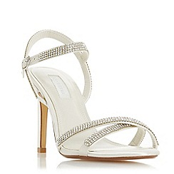 Dune - Ivory satin 'Madallenna' high stiletto heel ankle strap sandals