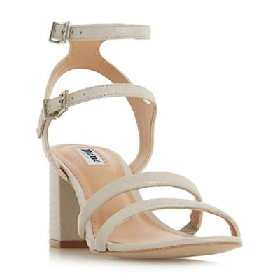 Dune - Cream leather 'Magner' block heel ankle strap sandals