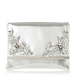 Dune - Silver 'Bellerow' floral trim clutch