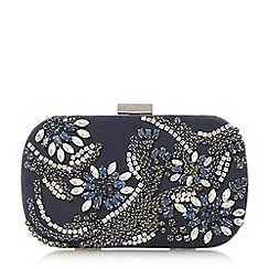 Dune - Navy 'Edana' diamante embellished clutch