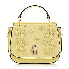 Dune - Yellow 'Dilys' flower and lock detail bag