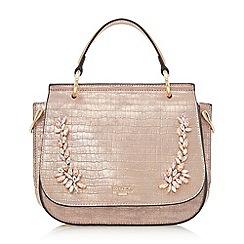 Dune - Rose gold 'Darra' jewelled detail handbag