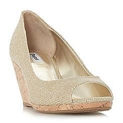 Dune - Gold 'Caydence' mid wedge heel peep toe sandals
