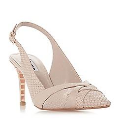 Dune - Light pink leather 'Cheska' mid stiletto heel court shoes