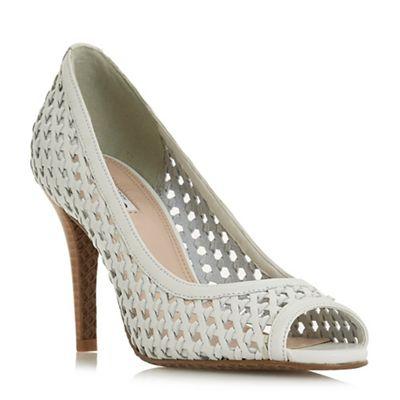 Dune - White leather 'Carding' mid block heel peep toe sandals