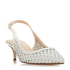 Dune - White leather 'Crochet' kitten heel court shoes