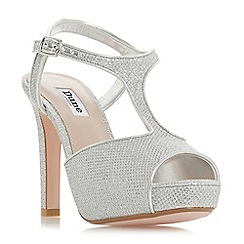 Dune - Silver 'Marleigh' high stiletto heel t-bar sandals