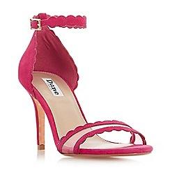 Dune - Pink suede 'Maam' high stiletto heel ankle strap sandals