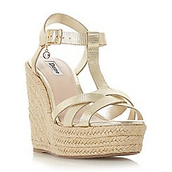 Dune - Gold leather 'Kaylaa' high wedge heel espadrilles