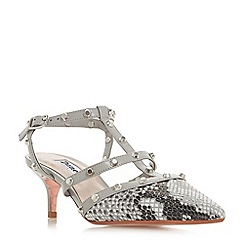 Dune - Grey leather 'Casterly' mid kitten heel court shoes