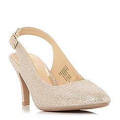 Head Over Heels by Dune - Gold 'Carrla' mid stiletto heel court shoes