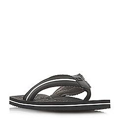 Dune - Black 'Hughh' wide strap toe-post flip flop