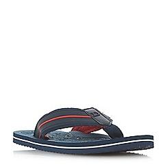 Dune - Navy 'Hugh' wide strap toe-post flip flop