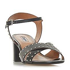 Dune - Black leather 'Joyride' mid block heel ankle strap sandals