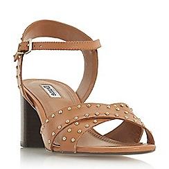 Dune - Tan leather 'Joyride' mid block heel ankle strap sandals