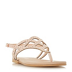 Head Over Heels by Dune - Natural 'Loula' t-bar sandals
