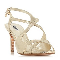 Dune - Gold 'Maribelle' mid stiletto heel ankle strap sandals