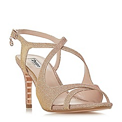 Dune - Rose gold 'Maribelle' mid stiletto heel ankle strap sandals