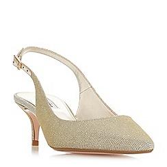 Dune - Gold 'Casandra*' mid kitten heel court shoes