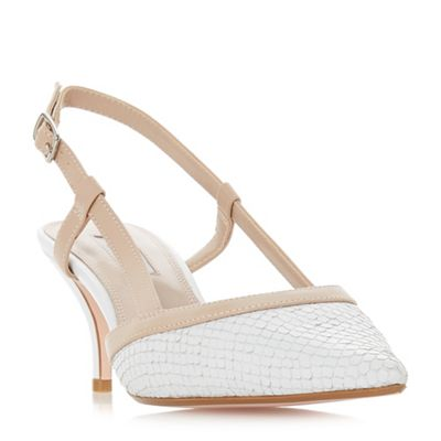 Dune - White leather 'Corra' mid stiletto heel slingbacks