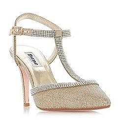 Dune - Gold 'Darsie' mid stiletto heel court shoes