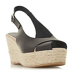 Dune Black - Black leather 'Kyri' high wedge heel espadrilles