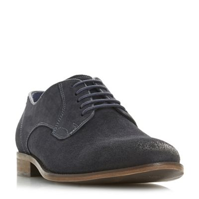 Bertie - Navy 'Percie' textured lace-up gibson shoes