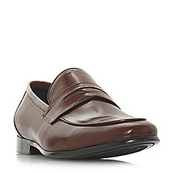 Dune - Brown 'Paw' perforated penny saddle loafers