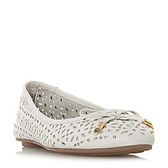 Dune - White leather 'Helenn' ballet pumps