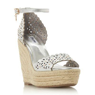 Dune - Silver leather 'Kamilea' high platform ankle strap sandals
