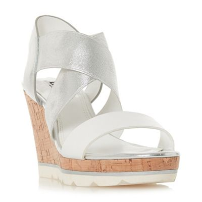 Dune - White ankle 'Kos' high wedge heel ankle White strap sandals 1a16d5