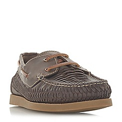 Dune - Brown 'Bugatti' woven boat shoes