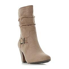 Head Over Heels by Dune - Taupe 'Renna' mid block heel calf boots