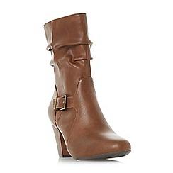 Head Over Heels by Dune - Tan 'Renna' mid block heel calf boots